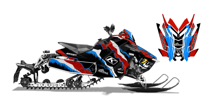 Dan Adams Polaris AXYS-Rush-Switchback Adams Alpine Sled Wrap Design