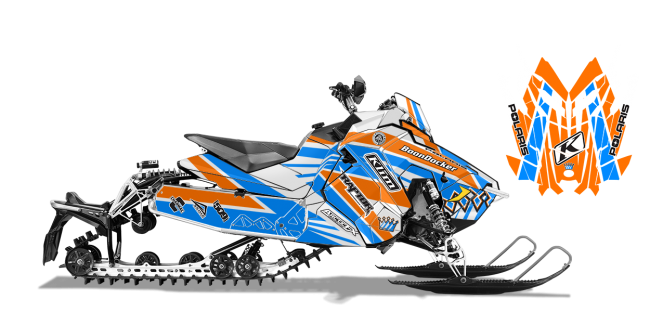 Keith Curtis Polaris AXYS-Rush-Switchback Curtis Mountain King Sled Wrap Design