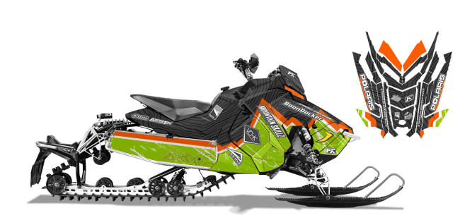 Matt Entz Polaris AXYS-Rush-Switchback Entz Frontier Sled Wrap Design